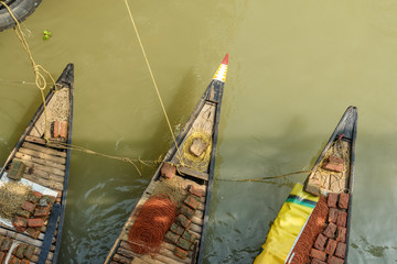 Traditional wooden fishing boat in river Hooghly or Ganga. Kolkata. India
