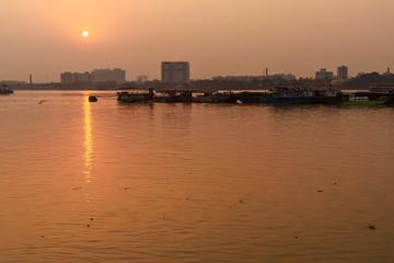 View of sunset on Hooghly or Ganga. Kolkata. India