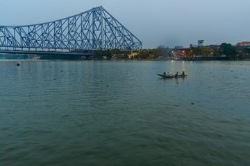 View of Howrah bridge in evening. Kolkata. India