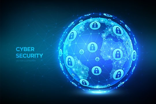 Cyber security. Earth globe illustration. Abstract polygonal planet. Information protect and Security of Safe concept. Illustrates cyber data security or network security idea. Vector illustration.