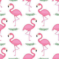 Tuinposter Flamingo Cute flamingo seamless pattern vector background. An animal illustration with pink, yellow and black colors on isolated white layer. For children fabric, cloth, backdrop, wallpaper, Printable Eps 10 f