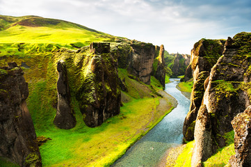 Foto auf Gartenposter Insel Fjadrargljufur canyon in southern Iceland. Beautiful summer landscape. Famous travel destination