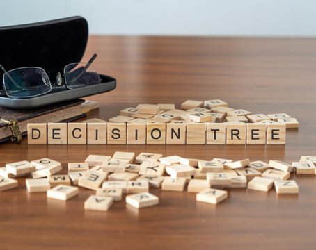decision tree concept represented by wooden letter tiles