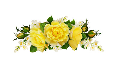 Twigs of Jasmine flowers and yellow roses in a floral arrangement