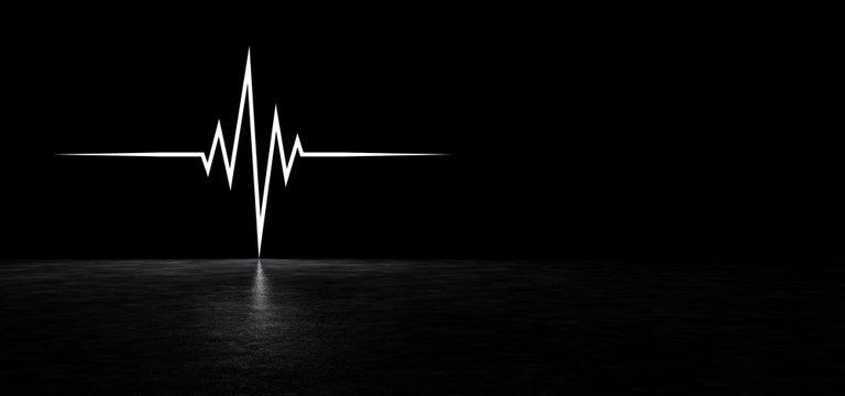 Luminous curve in a dark space. Glowing heartbeat line. 3D Render.