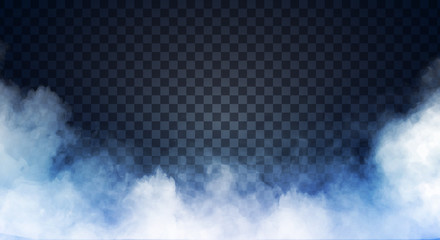 Poster de jardin Fumee Blue-gray fog or smoke on dark copy space background. Vector illustration