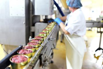 Produktion von Fertigessen-Dosenfleisch in einer industriellen Fabrik