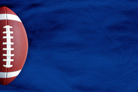 Dark Blue American Football Jersey textured with a football on a horizontal view