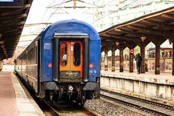 Detail train view. Train on the platform of Bucharest North Railway Station (Gara de Nord Bucuresti) in Bucharest, Romania, 2020