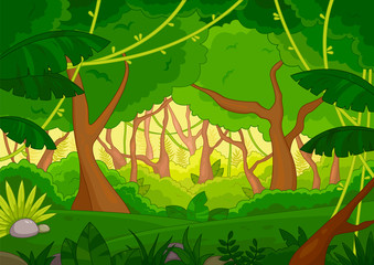 Tropical forest background with lush green trees and vegetation, colored vector illustration
