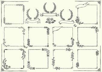 花と植物の手書きフレーム
