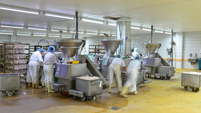 Arbeiter in einer Fleischerei - Herstellung von Würsten in einer Fabrik für Lebensmittel // worker in a butchery - production of sausages in a food factory