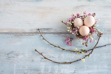 Easter still life on vintage planks
