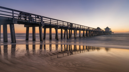 Old Naples pier, Florida, USA. Coastel dream with old and beauftiful architecture in Gulf of Mexico.