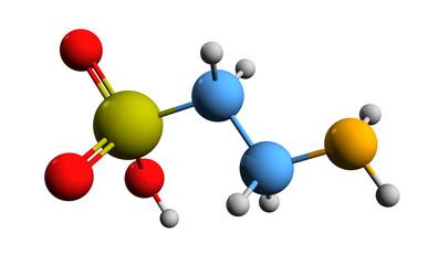 3D image of taurine skeletal formula - molecular chemical structure of 2-aminoethanesulfonic acid isolated on white background