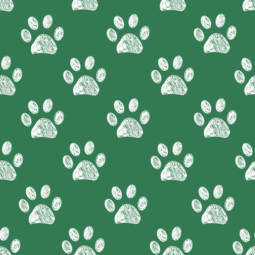 Hand drawn doodle paw prints for fabric design pattern. Seamless pattern vector St. Patrick's Day pattern background