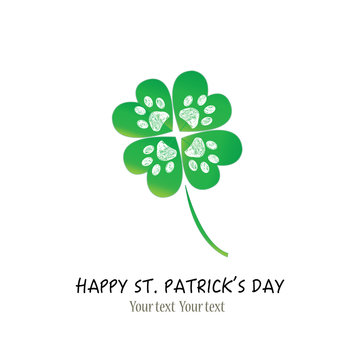 St. Patrick's Day background shamrock vector with hand drawn doodle paw prints greeting card