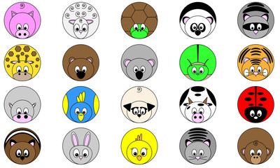 collection of twenty cute funny round vector illustrated animal sticker icon buttons in bright colors