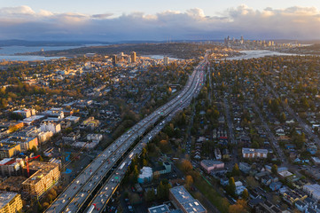 Drone Aerial footage of the Seattle Skyline