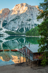 Wall Mural - Famous hut and Lago di Braies in Dolomites, Italy