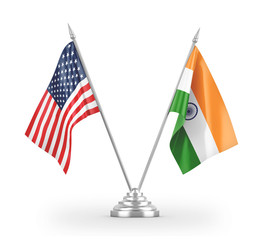 India and United States table flags isolated on white 3D rendering