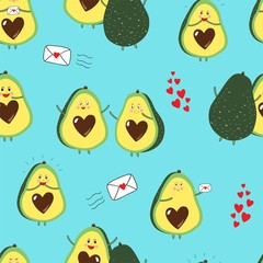 Vector seamless repeat pattern with happy excited avocados in love, giving hugs and sending love letters with little hearts on a bright aqua blue background