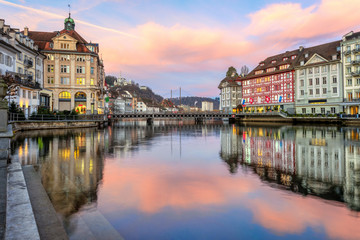 Lucerne Old town on sunrise, Switzerland