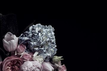 Fond de hotte en verre imprimé Hortensia Beautiful bouquet of different flowers on black background, space for text. Floral card design with dark vintage effect