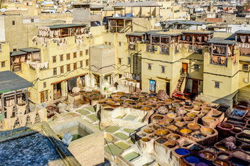 Rooftop View of Tannery - Fez, Morocco