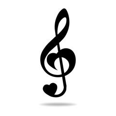 Music note treble clef, heart shape, vector illustration.