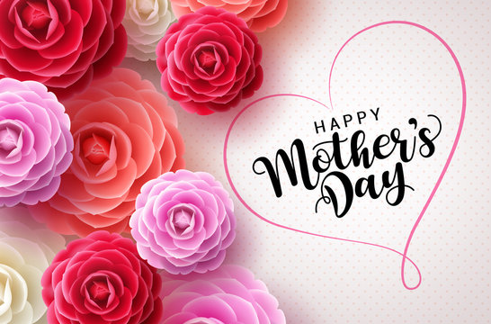 Happy mothers day vector greetings card background. Mother's day text in heart shape frame concept design in white pattern background with colorful camellia flowers for mom. Vector illustration.