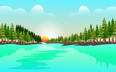 Poster Turkoois Lake landscape design vector template