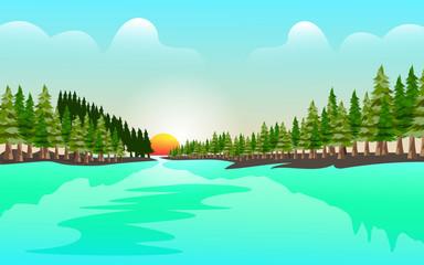 Türaufkleber Turkis Lake landscape design vector template