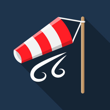 Wind storm flat design weather icon symbol