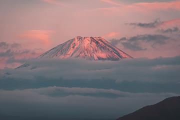 Beautiful Red Fuji mountain at Dawn, Japan