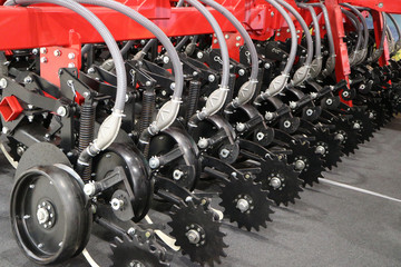 Precision inline seeder. A row seeder. Seed drill.  Fragment.