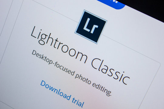 Ryazan, Russia - July 11, 2018: Adobe Lightroom Classic, software logo on the official website of Adobe.
