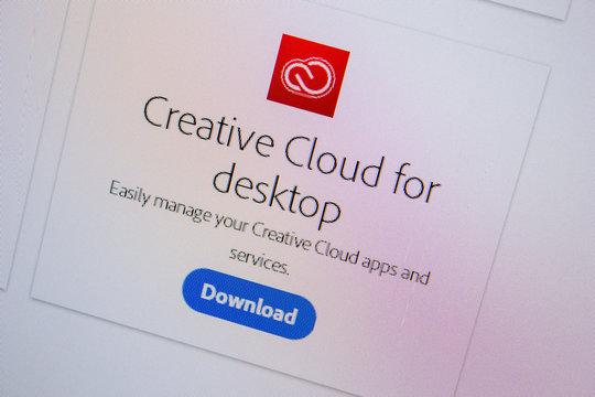 Ryazan, Russia - July 11, 2018: Adobe Creative Cloud for desktop, software logo on the official website of Adobe.