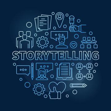 Storytelling vector circular concept outline blue illustration on dark background