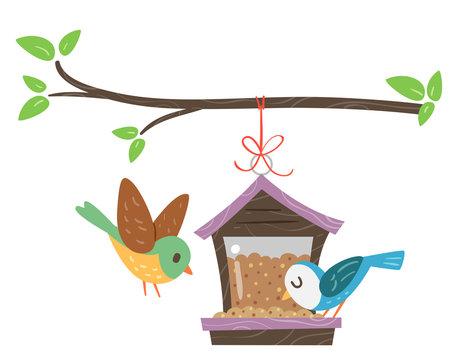 Birds Bird Feeder Illustration