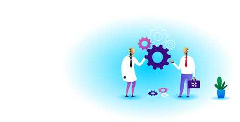Wall Mural - two robots holding cog wheel brainstorming process artificial intelligence technology teamwork concept horizontal full length vector illustration