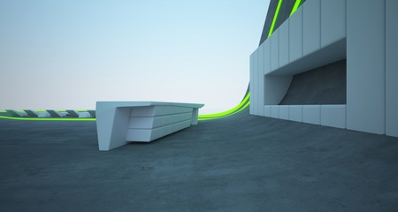 Abstract architectural concrete interior of a modern villa on the sea with colored neon lighting. 3D illustration and rendering.