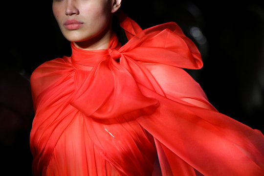 A model presents a creation from the Brandon Maxwell Fall/Winter 2020 collection during fashion week in New York