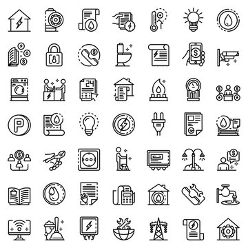 Utilities icons set. Outline set of utilities vector icons for web design isolated on white background