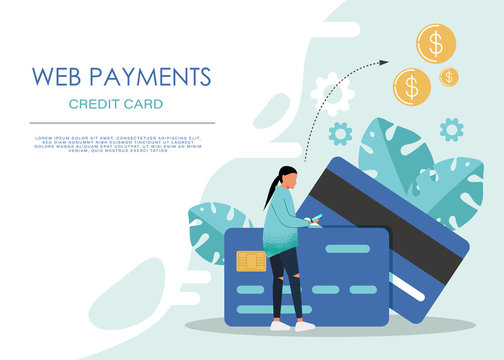 Mobile banking concept illustration of people sitting on credit cards and using mobile smart phone for online banking and accounting. Flat men and women with credit cards