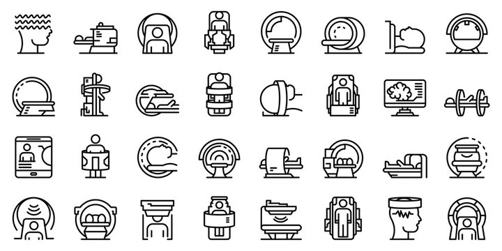 Magnetic resonance imaging icons set. Outline set of magnetic resonance imaging vector icons for web design isolated on white background