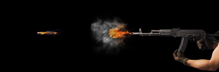 Freezing shot of a gun on a dark background. Concept gun club, gun-shop, shooting range.