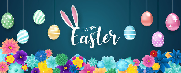 Happy Easter background. flower colorful shine decorated eggs