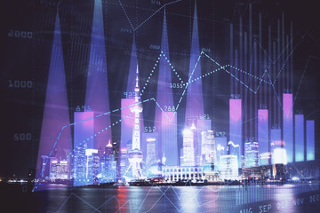 Türaufkleber Shanghai Financial graph on night city scape with tall buildings background multi exposure. Analysis concept.