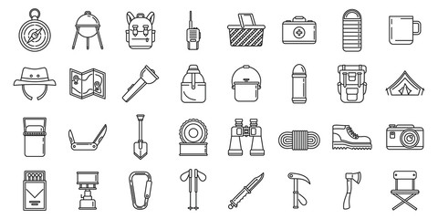 Hiking mountain icons set. Outline set of hiking mountain vector icons for web design isolated on white background